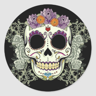 DAY OF THE DEAD SUGAR SKULL CLASSIC ROUND STICKER