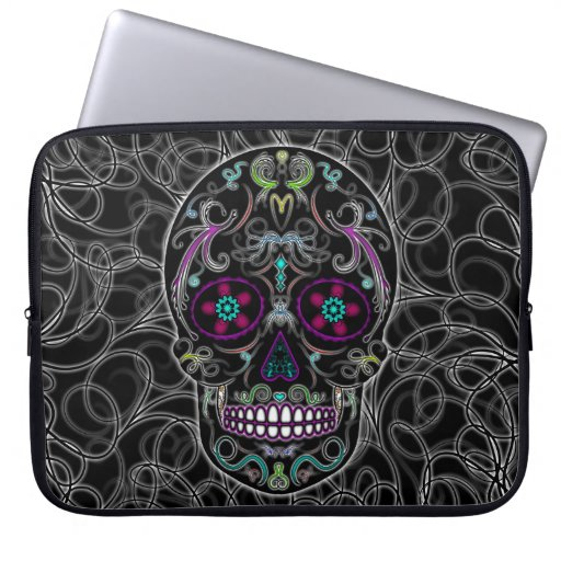 Day of the Dead Sugar Skull - Colorfully Black Laptop Sleeves