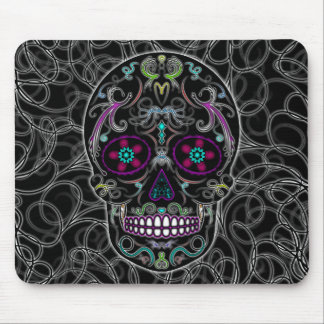 Day of the Dead Sugar Skull - Colorfully Black Mouse Pad