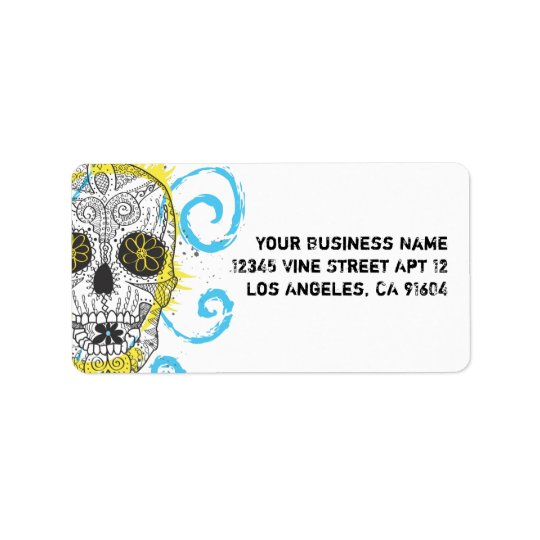 Day of The Dead Sugar Skull Comic Tattoo Design Label