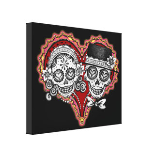 Day of the Dead Sugar Skull Couple Canvas Print