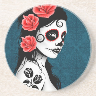 Day of the Dead Sugar Skull Girl - blue Beverage Coasters