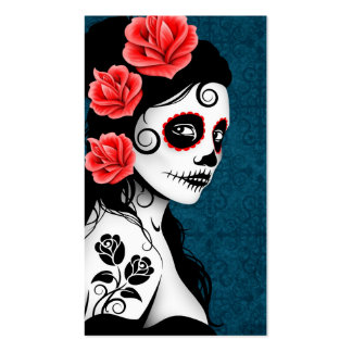 Day of the Dead Sugar Skull Girl - blue Business Card Templates