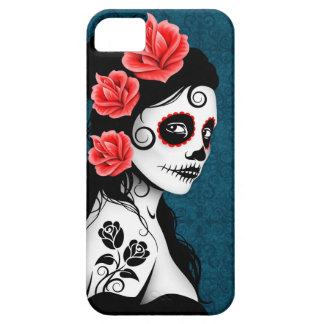 Day of the Dead Sugar Skull Girl - blue iPhone 5 Cases