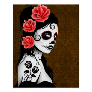 Day of the Dead Sugar Skull Girl - Brown Poster