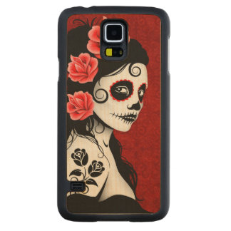 Day of the Dead Sugar Skull Girl – Deep Red Carved® Maple Galaxy S5 Case