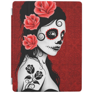 Day of the Dead Sugar Skull Girl Deep Red iPad Cover