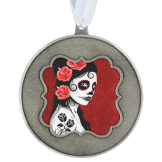 Day of the Dead Sugar Skull Girl – Deep Red Scalloped Pewter Ornament