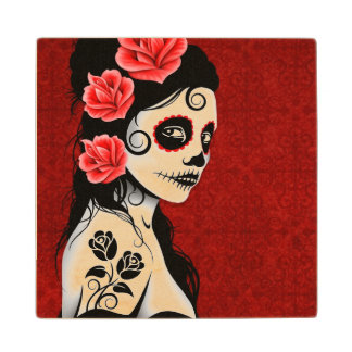 Day of the Dead Sugar Skull Girl – Deep Red Maple Wood Coaster