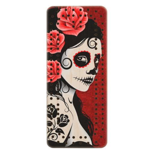 Day of the Dead Sugar Skull Girl – Deep Red Maple Cribbage Board