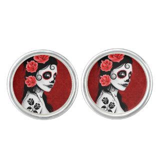 Day of the Dead Sugar Skull Girl Deep Red Cufflinks