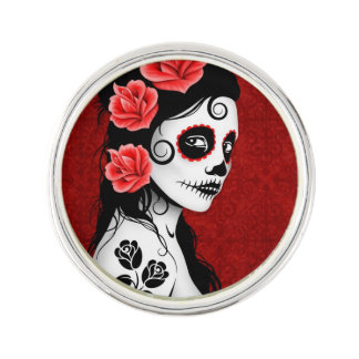 Day of the Dead Sugar Skull Girl Deep Red