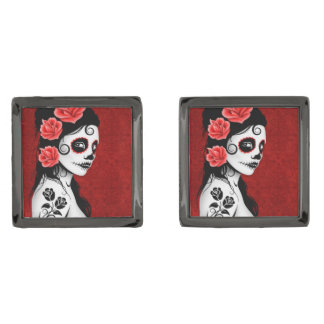 Day of the Dead Sugar Skull Girl – Deep Red Cufflinks