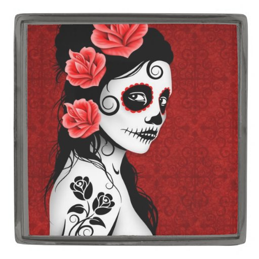 Day of the Dead Sugar Skull Girl – Deep Red Gunmetal Finish Lapel Pin