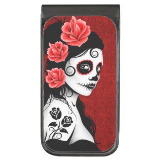 Day of the Dead Sugar Skull Girl – Deep Red Gunmetal Finish Money Clip
