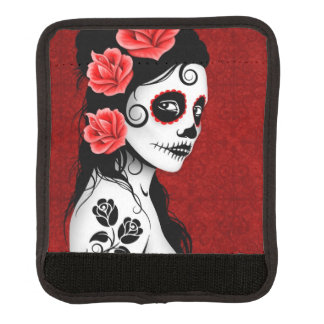 Day of the Dead Sugar Skull Girl Deep Red Handle Wrap