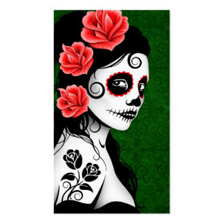 Day of the Dead Sugar Skull Girl - green Business Card Template