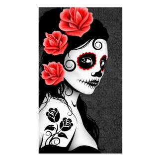 Day of the Dead Sugar Skull Girl - grey Business Card