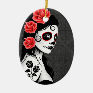 Day of the Dead Sugar Skull Girl - grey Ceramic Oval Decoration