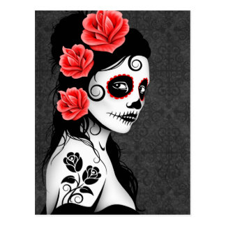 Day of the Dead Sugar Skull Girl - Grey Postcard