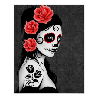 Day of the Dead Sugar Skull Girl - Grey Poster