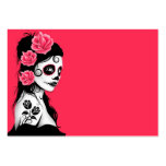 Day of the Dead Sugar Skull Girl - pink Pack Of Chubby Business Cards