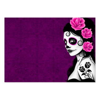 Day of the Dead Sugar Skull Girl - purple Business Card Template