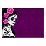 Day of the Dead Sugar Skull Girl - purple Business Cards