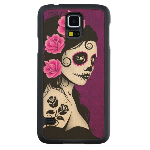 Day of the Dead Sugar Skull Girl – Purple Carved® Maple Galaxy S5 Slim Case