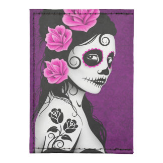 Day of the Dead Sugar Skull Girl – Purple Tyvek® Card Case Wallet