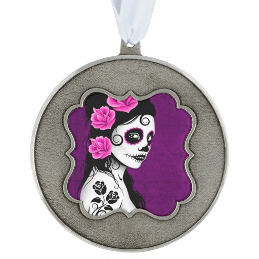 Day of the Dead Sugar Skull Girl – Purple Scalloped Pewter Ornament