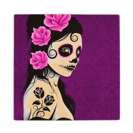 Day of the Dead Sugar Skull Girl – Purple Maple Wood Coaster