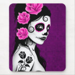 Day of the Dead Sugar Skull Girl - purple Mousepad