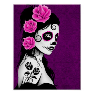 Day of the Dead Sugar Skull Girl - Purple Poster