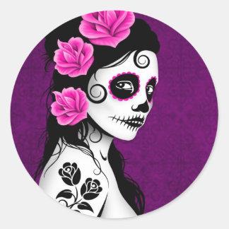 Day of the Dead Sugar Skull Girl - purple Round Sticker