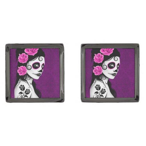 Day of the Dead Sugar Skull Girl – Purple Gunmetal Finish Cuff Links