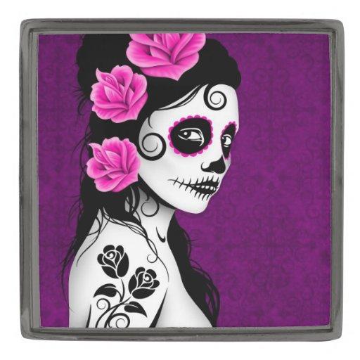 Day of the Dead Sugar Skull Girl – Purple Lapel Pin