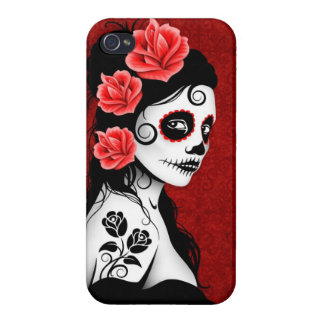 Day of the Dead Sugar Skull Girl - red Case For iPhone 4