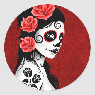 Day of the Dead Sugar Skull Girl - red Classic Round Sticker