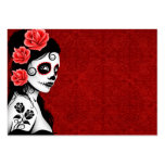 Day of the Dead Sugar Skull Girl - red Pack Of Chubby Business Cards