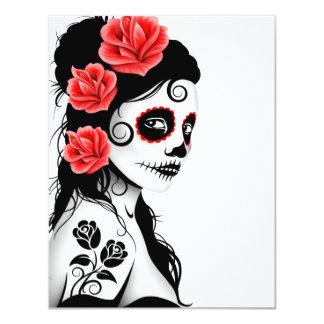 Day of the Dead Sugar Skull Girl - white 11 Cm X 14 Cm Invitation Card