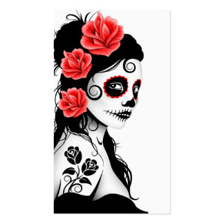 Day of the Dead Sugar Skull Girl - white Business Card Templates