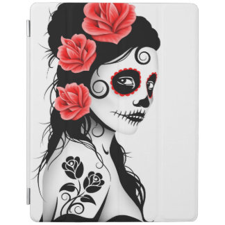 Day of the Dead Sugar Skull Girl White iPad Cover