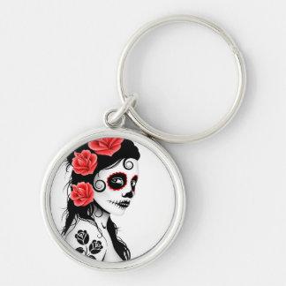 Day of the Dead Sugar Skull Girl - white Key Ring