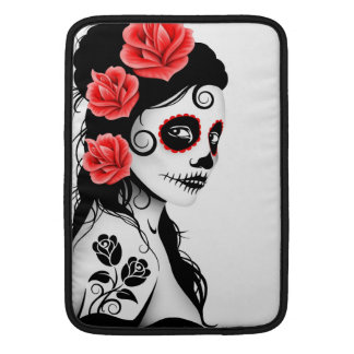 Day of the Dead Sugar Skull Girl - white Sleeves For MacBook Air
