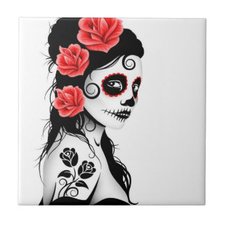 Day of the Dead Sugar Skull Girl - white Small Square Tile