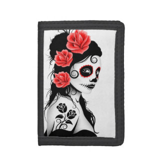Day of the Dead Sugar Skull Girl - White Trifold Wallets
