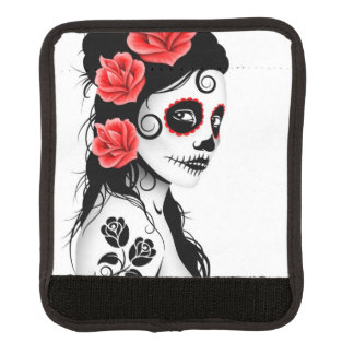 Day of the Dead Sugar Skull Girl White Luggage Handle Wrap