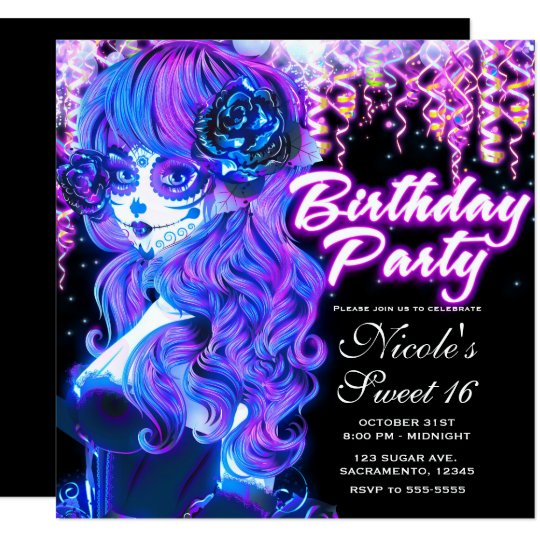 Day of the Dead Sugar Skull Glow Birthday Party Card