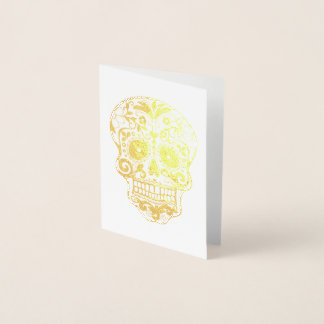 Day of the Dead Sugar Skull Gold Foil Card